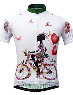 JESOCYCLING Cycling Jersey Women's Short Sleeves Bike Jersey Tops Quick Dry Ultraviolet Resistant Front Zipper Breathable Back Pocket