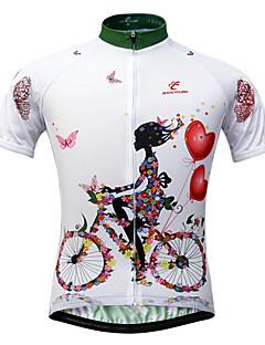 JESOCYCLING Cyklodres Dámské Krátký rukáv Jezdit na kole Dres Vrchní část oděvuRychleschnoucí Odolný vůči UV záření Přední zip Prodyšné