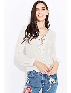 Langærmet V-hals Dame Hvid Ensfarvet Simpel Gade I-byen-tøj Strand Bluse,Polyester