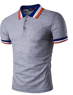 Masculino Polo Casual Simples Listrado Algodão Colarinho de Camisa Manga Curta