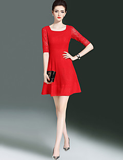Women's Casual/Daily Simple Street chic Sheath Lace Dress Solid Round Neck Mini Half Sleeves