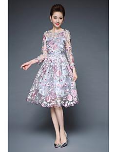 Damen Spitze Kleid-Lässig/Alltäglich Einfach Solide Rundhalsausschnitt Knielang 3/4 Ärmel Polyester Elasthan Sommer Mittlere Hüfthöhe