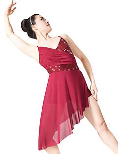 Baletti Hameet Naisten Lasten Suoritus Elastaani Polyesteri Paljettipintainen Lycra Laskostettu Paljettipintainen 2 osainen Hihaton