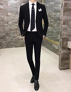 Erkek Pamuklu Polyester Uzun Kol Çentik Yaka Bahar Sonbahar Solid Basit Çalışma Normal-Erkek Takım Elbise