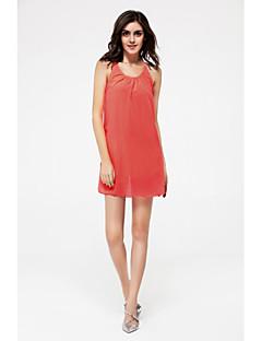 여성 루즈핏 드레스 플러스 사이즈 심플 솔리드,스트랩 무릎 위 민소매 면 여름 중간 밑위 신축성 없음 중간