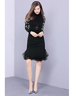 Damer Simpel I-byen-tøj Normal Pullover Trykt mønster,Rund hals Langærmet Bomuld Vinter Medium Mikroelastisk