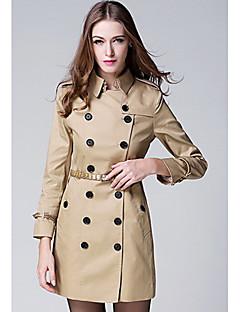 여성 솔리드 스탠드 긴 소매 트렌치 코트,단순한 캐쥬얼/데일리 보통 폴리에스테르 가을