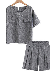 Feminino Japonesa/Curta Calça Conjuntos Casual Tamanhos Grandes Simples Verão,Sólido Decote Redondo Manga Curta Inelástico