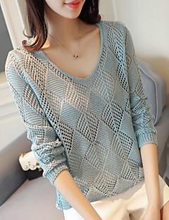 Damen Standard Pullover-Lässig/Alltäglich Solide Rundhalsausschnitt Langarm Polyester Sommer Semi-transparent Mikro-elastisch