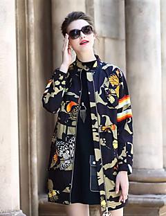 Damen Druck camuflaje Street Schick Lässig/Alltäglich Trench Coat,Rundhalsausschnitt Herbst Lange Ärmel Standard Polyester