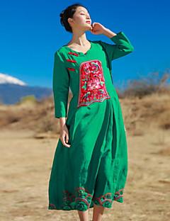 Kadın Günlük/Sade Salaş Çan Elbise Solid Nakışlı,3/4 Kol Yuvarlak Yaka Midi Pamuklu Bahar Normal Bel Mikro-Esnek Orta