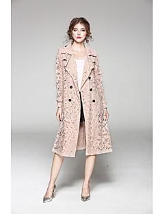 여성 솔리드 셔츠 카라 긴 소매 트렌치 코트,단순한 캐쥬얼/데일리 긴 폴리에스테르 가을 겨울