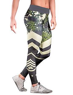 Mulheres Color Block Estampada Legging