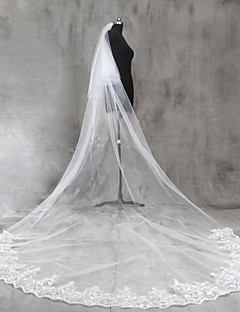 Bride Wedding White / Ivory Veil Two-tier Chapel Veils Cathedral Veils Lace Applique Edge Lace Tulle
