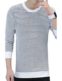 Normal Pullover Fritid/hverdag Arbeid Herre,Stripet Rund hals Langermet Polyester Høst Vinter Medium Mikroelastisk