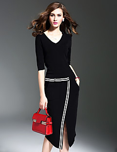 Women's Party Plus Size Casual/Daily Simple Street chic Sheath Dress Solid V Neck Midi Half Sleeve Polyester Spring FallMid