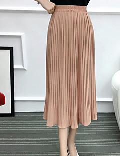Γυναικείο Κούνια Καθημερινά Midi Φούστες Μονόχρωμο Καλοκαίρι