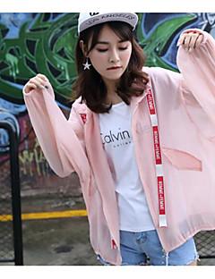 Damen Solide Einfach Sport Ausgehen Lässig/Alltäglich Trench Coat,Ständer Sommer Lange Ärmel Standard Acryl Polyester