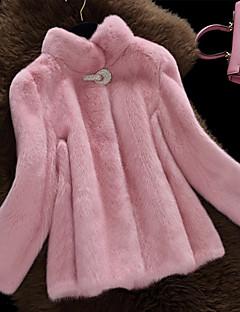 Langærmet Høj krave Pelskrave Damer Normal Ensfarvet Vinter Simple Afslappet/Hverdag Pelsfrakke,Imiteret pels