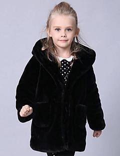 Genç Kız Suni Kürk Özel Kürk Tipleri Solid Kış Uzun Kol Ceket ve Kaban