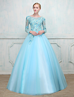 Ball Gown Scoop Neck Floor Length Tulle Prom Formal Evening Dress with Beading Lace by MMHY