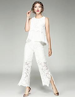 Feminino Regata Calça Conjuntos Casual Simples Moda de Rua Verão Outono,Sólido Renda Vazado Decote U Sem Manga Micro-Elástica
