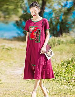 Kadın Günlük/Sade Çan Elbise Solid Nakışlı,Kısa Kollu Yuvarlak Yaka Midi Pamuklu Keten Bahar Yaz Normal Bel Esnemez Orta
