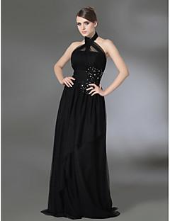 A-line prințesă de înaltă gât halter etaj lungime tul de stretch satin rochie de balet cu beading de ts couture®