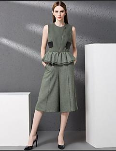 Damen Solide Einfach Lässig/Alltäglich Muskelshirt Rock Anzüge,Rundhalsausschnitt Herbst Ärmellos