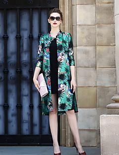 1/2 ærmelængde Høj krave Damer Normal Trykt mønster Forår Efterår Vintage Afslappet/Hverdag Trenchcoat,Polyester