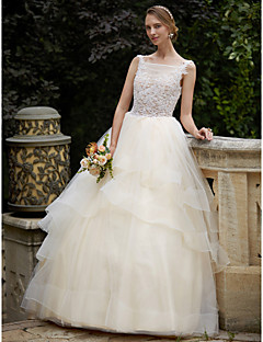 Ball Gown Bateau Neck Court Train Lace Tulle Wedding Dress with Beading Appliques Tiered by LAN TING BRIDE®
