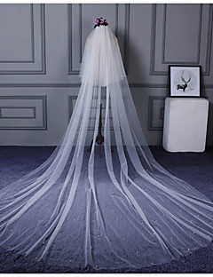 Wedding Veil Two-tier Elbow Veils Cathedral Veils Cut Edge Pearl Trim Edge Tulle