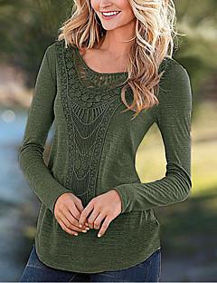 Langærmet Rund hals Medium Damer Ensfarvet Efterår Vinter Simpel I-byen-tøj T-shirt,Polyester