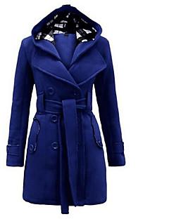 Damen Solide Einfach Ausgehen Mantel,Quadratischer Ausschnitt Winter Lange Ärmel Lang Polyester