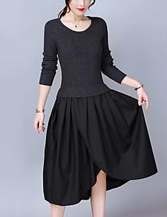 021de511b02e Γυναικείο Εξόδου Μεγάλα Μεγέθη Απλό Γραμμή Α Πλεκτά Φόρεμα