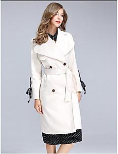 여성 솔리드 피터팬 카라 긴 소매 트렌치 코트,단순한 데이트 캐쥬얼/데일리 긴 폴리에스테르 가을