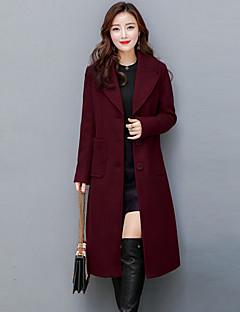 Damen Solide Street Schick Anspruchsvoll Ausgehen Übergröße Mantel,Hemdkragen Herbst Winter Lange Ärmel Lang Kaschmir Polyester