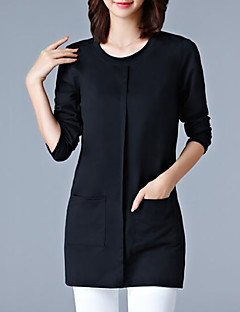 Women's Plus Size Casual/Daily Simple Fall Winter T-shirt,Solid Round Neck Long Sleeves Polyester Medium