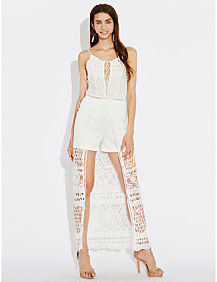 Women's Lace/Lace up Skinny JumpsuitsParty Club Sexy Solid Lace Backless Criss-Cross Slim Hollow Out Strap Sleeveless High Rise Micro-elastic
