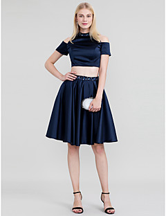 Princess Two Piece High Neck Knee Length Satin Cocktail Party Dress with Beading Crystal Detailing by TS Couture®