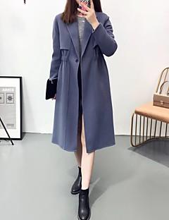 여성 솔리드 노치 라펠 긴 소매 코트,단순한 스포츠 데이트 긴 그외 봄 가을