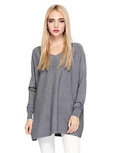 Damen Lang Pullover-Ausgehen Lässig/Alltäglich Einfach Street Schick Solide V-Ausschnitt Langarm Baumwolle Nylon Herbst Winter Dünn
