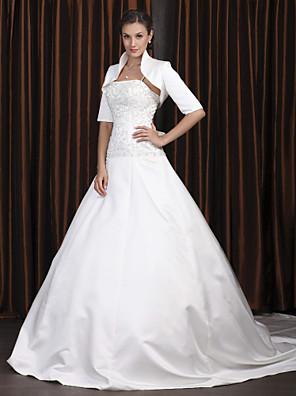 Lanting Bride® גזרת A קטן / מידה גדולה שמלת כלה - קלסי ונצחי / אלגנטי ויוקרתי שמלות חתונה עם עטיפה / שמלות חתונה שתיים באחתשובל כנסייה