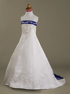 A-line / Princess Court Train Flower Girl Dress - Satin Sleeveless Spaghetti Straps with Appliques / Beading
