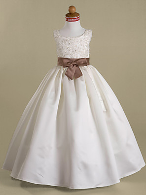 A-line / Ball Gown / Princess Floor-length Flower Girl Dress - Satin Sleeveless Scoop with Appliques / Beading / Bow(s) / Sash / Ribbon