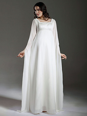Lanting Bride® Sheath / Column Maternity Wedding Dress - Classic & Timeless / Chic & Modern See-Through Wedding Dresses Floor-length