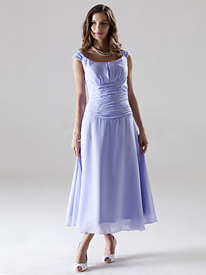 Lanting Bride® באורך הקרסול שיפון שמלה לשושבינה - גזרת A / נסיכה מתחת לכתפיים פלאס סייז (מידה גדולה) / פטיט עם סלסולים