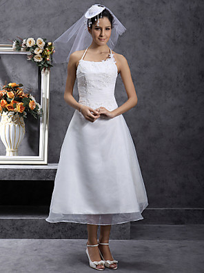Lanting Bride® גזרת A / נסיכה קטן / מידה גדולה שמלת כלה - שיק ומודרני / לקבלת פנים באורך הקרסול רצועות ספגטי אורגנזה עם