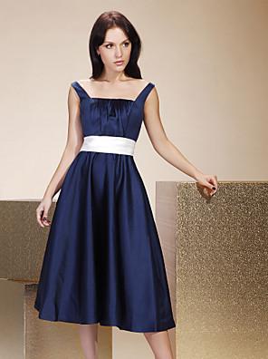 Lanting Bride® Longuette Cetim Vestido de Madrinha - Linha A / Princesa Quadrado / Alças Tamanhos Grandes / Mignon comPregueado / Faixa /