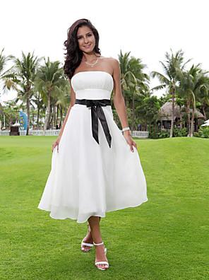 Lanting Bride A-line Petite / Plus Sizes Wedding Dress-Tea-length Strapless Chiffon